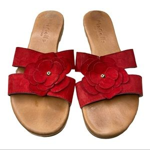Mariella Red Leather Floral Slip On Sandals Sz 7.5